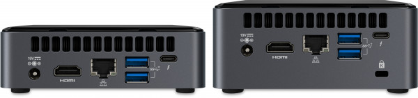 Rear view of the NUC 10 Kits, K-suffix left, H-suffix right
