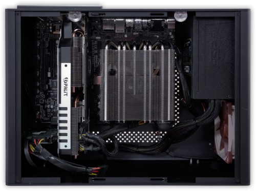 Internal view showing graphics card and CPU cooler installed
